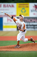 Asheboro Copperheads starting pitcher Josh Ruppel (29) delivers a pitch to the plate against the Gastonia Grizzlies at McCrary Park on June 1, 2015 in Asheboro, North Carolina.  The Copperheads defeated the Grizzlies 11-6. (Brian Westerholt/Four Seam Images)