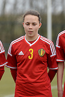 20150226 - Tubize , Belgium : Belgian Ellen Knockaert pictured during the friendly female soccer match between Women under 17 teams of  Belgium and Scotland  . Thursday 26th February 2015 . PHOTO DAVID CATRY
