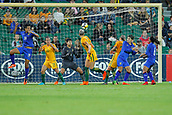 26th March 2018, nib Stadium, Perth, Australia; Womens International football friendly, Australia Women versus Thailand Women; Alanna Kennedy of the Matildas scores with a header during the second half