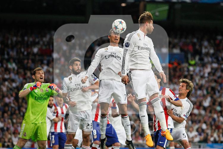 Real Madrid's Cristiano Ronaldo and Sergio Ramos during quarterfinal second leg Champions League soccer match at Santiago Bernabeu stadium in Madrid, Spain. April 22, 2015. (ALTERPHOTOS/Victor Blanco)