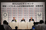 (L-R) Hiromi Tokuda, Norio Ichino, Katsuhiko Kumazaki, <br /> AUGUST 3, 2016 - Softball &amp; Baseball :<br /> Baseball Federation of Japan, Japan Softball Association and Nippon Professional Baseball Organization holds a press conference<br /> after it was decided that the sport of <br /> Softball &amp; Baseball would be added to the Tokyo 2020 Summer Olympic Games<br /> on August 3rd, 2016 in Tokyo, Japan.<br /> (Photo by AFLO SPORT)