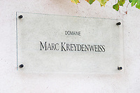 A sign on the house of Marc Kreydenweiss in the style of his wines: stylish, elegant and crisp Domaine Marc Kreydenweiss, Andlau, Alsace, France
