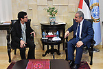 Palestinian Prime Minister Mohammad Ishtayeh, receives the assistante of the United Nations Secretary-General for Humanitarian Affairs, in the West Bank city of Ramallah, on January 14, 2020. Photo by Prime Minister Office