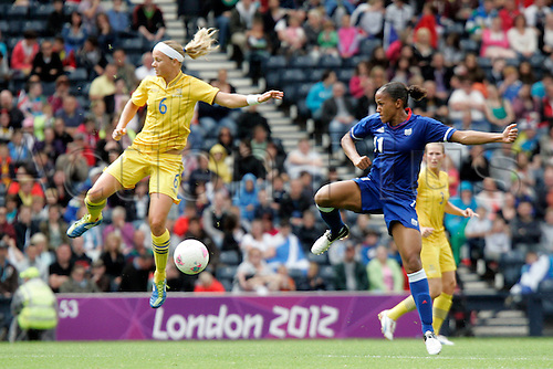 03.08.2012 Glasgow, Scotland. 6 THUNEBRO Sara and 11 DELIE Marie-Laure in action during the Olympic Football women's quarter final  game between France and Sweden from Hampden Park.