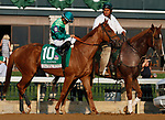 "October 07, 2018 : #10 Pacific Wind and jockey Luis Saez in the 63rd running of The Juddmonte Spinster (Grade 1) $500,000 ""Win and You're In Breeders' Cup Distaff Division"" at Keeneland Race Course on October 07, 2018 in Lexington, KY.  Candice Chavez/ESW/CSM"