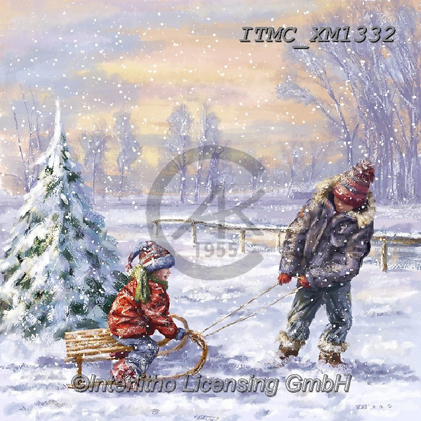 Marcello, CHRISTMAS CHILDREN, WEIHNACHTEN KINDER, NAVIDAD NIÑOS, paintings+++++,ITMCXM1332,#xk# ,playing in snow
