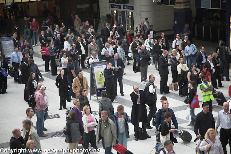 Concourse crowded with people, Liverpool Street station, London, England