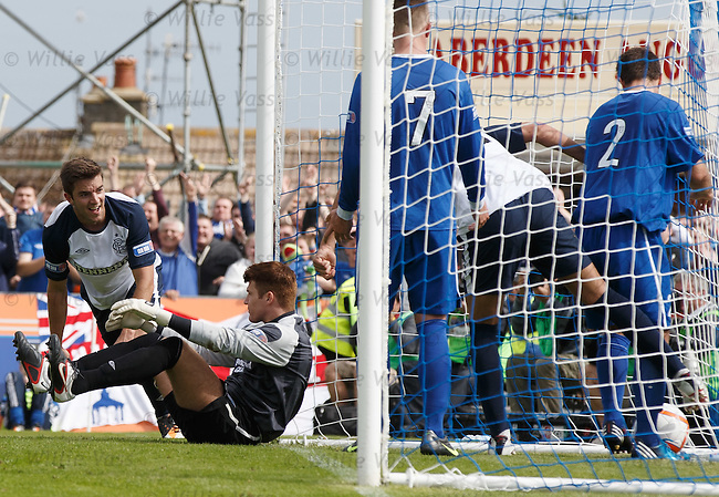 Andy Little celebrates as his last gasp goal hits the back of the net