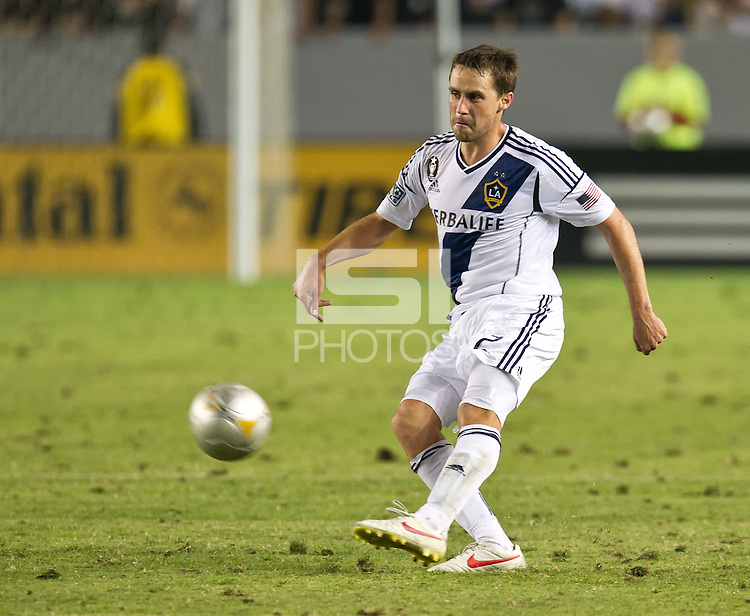 CARSON, CA - July 4, 2012: LA Galaxy defender Todd Dunivant (2) during the LA Galaxy vs Philadelphia Union match at the Home Depot Center in Carson, California. Final score LA Galaxy 1, Philadelphia Union 2.