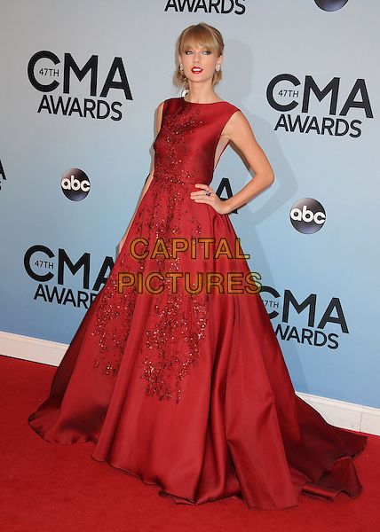 NASHVILLE, TENNESSEE - NOVEMBER 06: Taylor Swift at the 47th CMA Awards, Country Music's Biggest Night, held at Bridgestone Arena on November 6th, 2013 in Nashville, Tennessee, USA.<br /> CAP/ADM/BP<br /> &copy;Byron Purvis/AdMedia/Capital Pictures