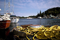 Quadra Island, BC, British Columbia, Canada - Fishing Boats docked at Quathiaski Cove