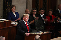United States President Donald J. Trump delivers his second annual State of the Union Address to a joint session of the US Congress in the US Capitol in Washington, DC on Tuesday, February 5, 2019. Photo Credit: Alex Edelman/CNP/AdMedia
