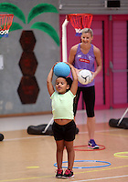 25.02.2014 Filming of a junior netball promo with Maria Tutaia and Katrina Grant at the Auckland Netball Centre in Auckland. Mandatory Photo Credit ©Michael Bradley.