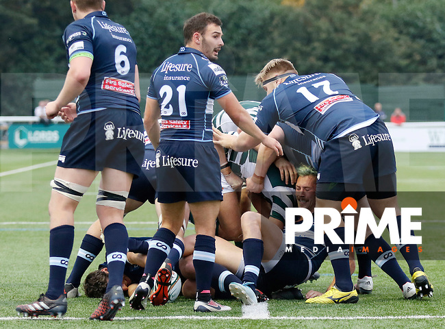 Bedford's Patrick Tabley feels the squeeze during the Greene King IPA Championship match between Ealing Trailfinders and Bedford Blues at Castle Bar , West Ealing , England  on 29 October 2016. Photo by Carlton Myrie / PRiME Media