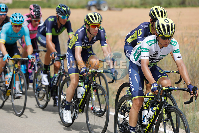 Esteban Chaves (COL) Orica-Scott in action during Stage 8 of the 2017 La Vuelta, running 199.5km from Hell&iacute;n to Xorret de Cat&iacute;. Costa Blanca Interior, Spain. 26th August 2017.<br /> Picture: Unipublic/&copy;photogomezsport | Cyclefile<br /> <br /> <br /> All photos usage must carry mandatory copyright credit (&copy; Cyclefile | Unipublic/&copy;photogomezsport)