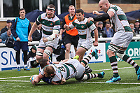 Mark Bright of Ealing Trailfinders scores a try during the British & Irish Cup Final match between Ealing Trailfinders and Leinster Rugby at Castle Bar, West Ealing, England  on 12 May 2018. Photo by David Horn / PRiME Media Images.