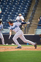 Tampa Tarpons Diego Castillo (2) at bat during a Florida State League game against the Lakeland Flying Tigers on April 7, 2019 at George M. Steinbrenner Field in Tampa, Florida.  Tampa defeated Lakeland 3-2.  (Mike Janes/Four Seam Images)