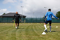 23rd May 2020; United Select HQ, Richings Sports Park, Iver, Bucks, England, United Select HQ exclusive Photo shoot session; Jordan Morgan during training drills being given instructions by United Select Director of Football Tristan Lewis