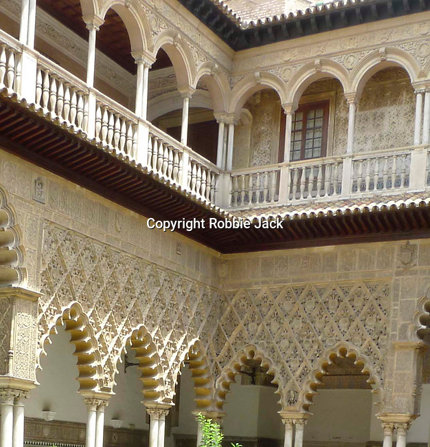 Patio de las Doncellas in El Alcazar in Seville, Spain.