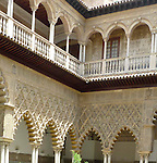 Patio de las Doncellas in El Alcazar in Seville, Spain.