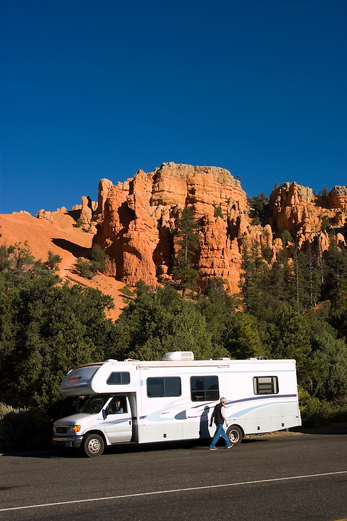 Recreational Vehicle, RV, Red Canyon in, Dixie National Forest between Bryce Canyon National Park and Zion National Park, Utah, UT, rock formation, landform, arid, Southwest America, American Southwest, US, United States, Image ut420-17633, Photo copyright: Lee Foster, www.fostertravel.com, lee@fostertravel.com, 510-549-2202