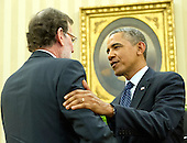 United States President Barack Obama, right, shakes hands with Mariano Rajoy Brey, President of the Government of the Kingdom of Spain (Prime Minister) following their meeting in the Oval Office of the White House in Washington, D.C. on Monday, January 13, 2014.<br /> Credit: Ron Sachs / Pool via CNP