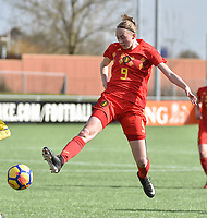 20180326 - ZALTBOMMEL , THE NETHERLANDS : Belgian Lisa Petry pictured during the UEFA Women Under 17 Elite round game between Belgium WU17 and Romania WU17, on the second matchday in group 1 of the Uefa Women Under 17 elite round in The Netherlands , monday 26 th March 2018 . PHOTO SPORTPIX.BE    DIRK VUYLSTEKE