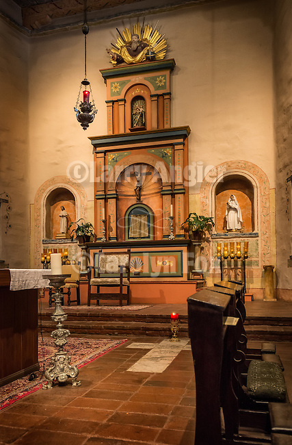 Mission San Diego de Acala, California. First of the Alta California Missions, it was founded by Father Junipero Serra July 16, 1769.<br /> <br /> Chapel altar