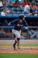 Montgomery Biscuits Dalton Kelly (9) at bat during a Southern League game against the Biloxi Shuckers on May 8, 2019 at MGM Park in Biloxi, Mississippi.  Biloxi defeated Montgomery 4-2.  (Mike Janes/Four Seam Images)