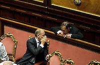 Roma, 2 Ottobre 2013<br /> Senato <br /> Il primo Ministro Enrico Letta durante il dibattito sulla fiducia con Roberto Calderoli