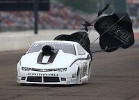 Aug 17, 2014; Brainerd, MN, USA; NHRA pro stock driver Shane Gray during the Lucas Oil Nationals at Brainerd International Raceway. Mandatory Credit: Mark J. Rebilas-