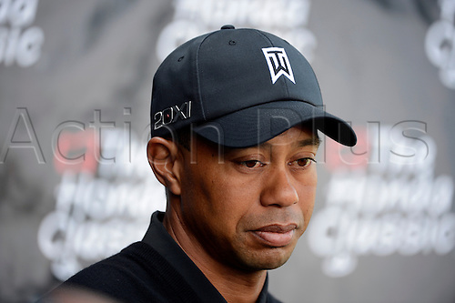 02.03.2013 Florida, USA. Tiger Woods speaks with the media after completing the third round of the Honda Classic at the PGA National Resort & Spa in Palm Beach Gardens, FL.