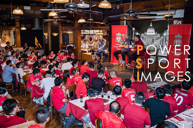 Presenter Peter McDowall (L) talks to Ian Rush (C) and Robbie Fowler (R) during the Liverpool FC Supporters Club Legends Appearance at Grappa's Cellar-Jardine House on July 17, 2017 in Hong Kong, China. Photo by Marcio Rodrigo Machado / Power Sport Images