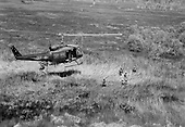 United States Air Force personnel of the 211th Helicopter Squadron fly on a combat assault mission July 18, 1970 in a UH-1 Helicopter over Southeast Asia. .Mandatory Credit: Robert W. Ingianni / U.S. Air Force via CNP