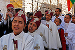 Israel, Jerusalem Old City, Ethiopian Orthodox pilgrims at the Good Friday procession at the Via Dolorosa.  Easter 2005<br />