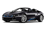 Stock pictures of low aggressive front three quarter view of a 2019 BMW i8 Base 2 Door Convertible