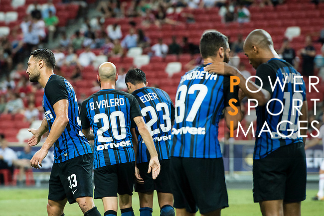 FC Internazionale Forward Eder Citadin Martins (H) celebrating his score with his teammates during the International Champions Cup match between FC Bayern and FC Internazionale at National Stadium on July 27, 2017 in Singapore. Photo by Marcio Rodrigo Machado / Power Sport Images