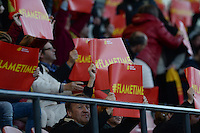20160412 - LEUVEN ,  BELGIUM : Belgian fans pictured with Flametime papers during the female soccer game between the Belgian Red Flames and Estonia , the fifth game in the qualification for the European Championship in The Netherlands 2017  , Tuesday 12 th April 2016 at Stadion Den Dreef  in Leuven , Belgium. PHOTO SPORTPIX.BE / DAVID CATRY