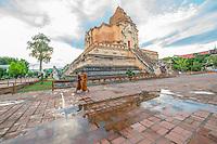 Thailand, Chiang Mai, Wat Chedi Luang Buddhist Monastery.
