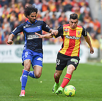 20170415 - LENS , FRANCE : Lens' Karim Hafez (R) and Auxerre's  Samed Kilic (L) pictured during the soccer match between Racing Club de LENS and AJ Auxerre , on the thirty third matchday in the French Dominos pizza Ligue 2 at the Stade Bollaert Delelis stadium , Lens . Saturday 15 April 2017 . PHOTO DIRK VUYLSTEKE | SPORTPIX.BE