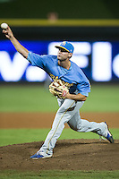 Myrtle Beach Pelicans relief pitcher Josh Conway (11) in action against the Winston-Salem Dash at BB&T Ballpark on August 20, 2015 in Winston-Salem, North Carolina.  The Dash defeated the Pelicans 5-4 on a walk-off wild pitch in the bottom of the 9th inning.  (Brian Westerholt/Four Seam Images)