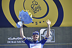Elia Viviani (ITA) Quick-Step Floors holds onto the race lead after Stage 4 The Municipality Stage of the Dubai Tour 2018 the Dubai Tour&rsquo;s 5th edition, running 172km from Skydive Dubai to Hatta Dam, Dubai, United Arab Emirates. 9th February 2018.<br /> Picture: LaPresse/Fabio Ferrari | Cyclefile<br /> <br /> <br /> All photos usage must carry mandatory copyright credit (&copy; Cyclefile | LaPresse/Fabio Ferrari)
