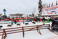 Ryan Redington leaves the start line during the restart of the 2019 Iditarod race in Willow, Alaska on Sunday March 3, 2019.<br /> <br /> Photo by Jeff Schultz/  (C) 2019  ALL RIGHTS RESERVED