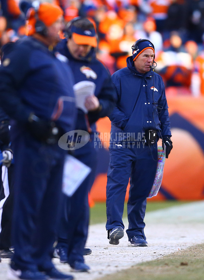 Jan 17, 2016; Denver, CO, USA; Denver Broncos head coach Gary Kubiak against the Pittsburgh Steelers during the AFC Divisional round playoff game at Sports Authority Field at Mile High. Mandatory Credit: Mark J. Rebilas-USA TODAY Sports