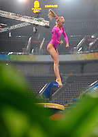 Aug. 7, 2008; Beijing, CHINA; Nastia Liukin (USA) performs on the vault during womens gymnastics training prior to the Olympics at the National Indoor Stadium. Mandatory Credit: Mark J. Rebilas-