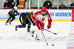 ADRIAN, MI - MARCH 18: Ashley Songin (12) of Plattsburgh State University skates with the puck during the Division III Women's Ice Hockey Championship held at Arrington Ice Arena on March 19, 2017 in Adrian, Michigan. Plattsburgh State defeated Adrian 4-3 in overtime to repeat as national champions for the fourth consecutive year. by Tony Ding/NCAA Photos via Getty Images)