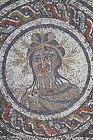 Summer, medallion from the Roman mosaic of the Four Seasons, in the dining room of the House of Dionysos, 3rd century AD, Volubilis, Northern Morocco. Volubilis was founded in the 3rd century BC by the Phoenicians and was a Roman settlement from the 1st century AD. Volubilis was a thriving Roman olive growing town until 280 AD and was settled until the 11th century. The buildings were largely destroyed by an earthquake in the 18th century and have since been excavated and partly restored. Volubilis was listed as a UNESCO World Heritage Site in 1997. Picture by Manuel Cohen