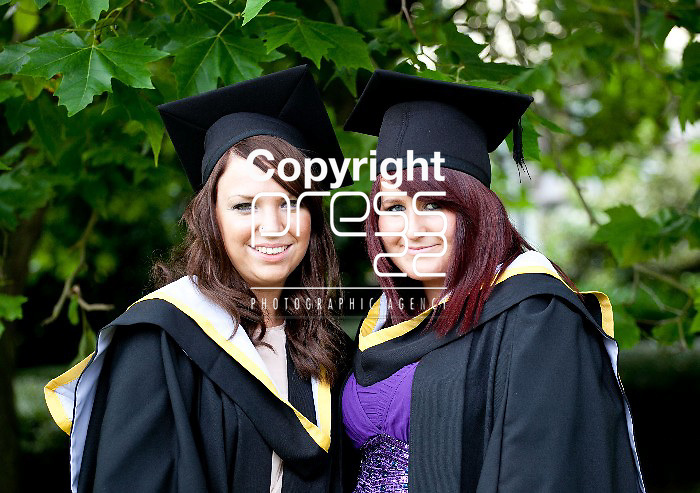 31.08.12  Attending the University of Limerick Conferrings on Friday afternoon were, Aine Hahessy, Ennis Co. Clare and Ailish O'Reilly, Ennis Co. Clare who both conferred with BA's in New Media and English. Pic. Alan Place / Press 22