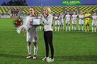 20190304 - LARNACA , CYPRUS : Hungarian midfielder Zsofia Racz (15) honored pictured during a women's soccer game between Mexico and Hungary , on Monday 4 March 2019 at the AEK Arena in Larnaca , Cyprus . This is the third game in group B for both teams during the Cyprus Womens Cup 2019 , a prestigious women soccer tournament as a preparation on the FIFA Women's World Cup 2019 in France . PHOTO SPORTPIX.BE | STIJN AUDOOREN