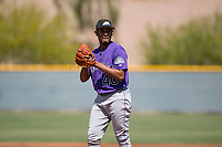 Colorado Rockies starting pitcher Jeffri Ocando (40) prepares to deliver a pitch during an Extended Spring Training game against the Chicago Cubs at Sloan Park on April 17, 2018 in Mesa, Arizona. (Zachary Lucy/Four Seam Images)